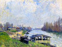 Alfred Sisley: The Laundry at Billancourt