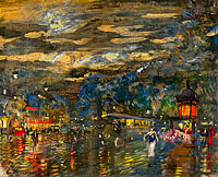 Konstantin Korovin: Parisian Boulevard by Night 01