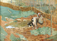 Woman and Cow in a Landscape