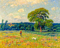 Henry Moret: Landscape with a Hunter and His Dog