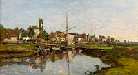 Eugène Louis Boudin: Village in Normandie on the Riverbank