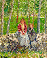 Camille Pissarro: Peasants Seated under the Trees at Moret