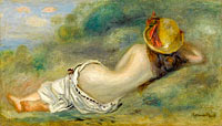 Bather in Hat Laying on the Grass