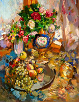 Константин Коровин: Still Life with Roses and Fruits