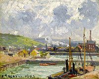 Camille Pissarro: The Inner Harbor in Bassin of the Duquesne, Dieppe, Grey Weather