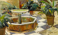 Хоакин Соролья: Fountain in a Courtyard, Seville
