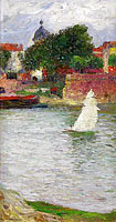 A Sailer on the Garonne near the Church of Saint Pierre at Toulouse