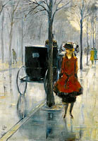 Lesser Ury: Street Scene with Woman, Berlin