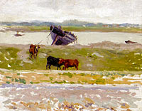 The Cows near an Old Boat, Etaples