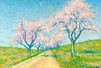 The Road Boarding by Almond-Trees in Bloom