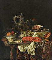 Abraham van Beijeren: Still life with a silver pitcher