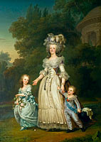 Queen Marie Antoinette of France and two of her Children Walking in The Park of Trianon