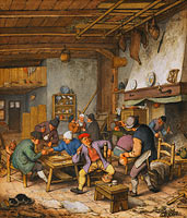Адриан ван Остаде: Room in an Inn with Peasants Drinking, Smoking and Playing Backgam, 1678