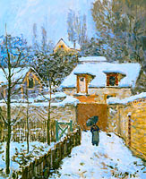 Alfred Sisley: Snow at Louveciennes