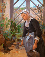 Анна Петерсен: Breton Girl Looking After Plants in the Hothouse