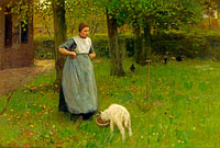 Anton Mauve: Woman from Laren with lamb