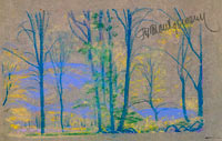 Arthur Bowen Davies: Landscape with trees from A.B. Davies book, edition #23/50