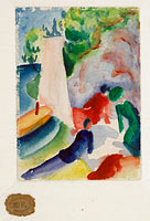 August Macke: Picnic on the Beach (Picnic after Sailing), 1913