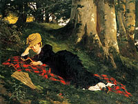 Гиула Бенцур: Woman Reading in a Forest