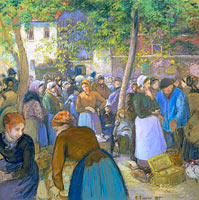 Camille Pissarro: Poultry Market at Gisors (1)