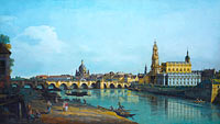 Бернардо Беллотто: Dresden seen from the Right Bank of the Elbe, beneath the Augusts Bridge