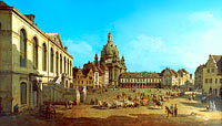 Бернардо Беллотто: View of the Neumarkt in Dresden from the Jüdenhofe