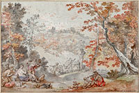 Шарль-Жозеф Натуар: Italian Fall Landscape with Monte Porzio and an Offering to Pan, 1763