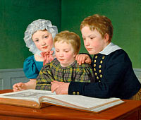 Portrait of C.F. Holm's children. Adam Vilhelm, Pauline Frederikke and Johan Chr. Julius