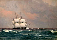 The corvette Najaden in rough seas