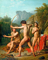 Three Spartan boys practising archery