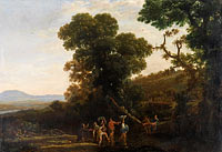 Claude Lorrain: Landscape with Figures Wading Through a Stream