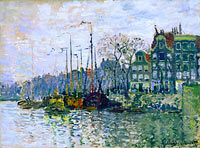 Claude Monet: View of the Prins Hendrikkade and the Kromme Waal in Amsterdam