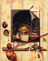 Корнелис Норбертус Гисбрехтс: Trompe l'oeil with Studio Wall and Vanitas Still Life