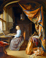 Gerrit Dou: A Woman playing a Clavichord
