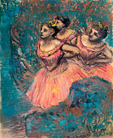 Three Dancers in Red Costume