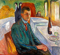 Эдвард Мунк: Self-Portrait with a Bottle of Wine