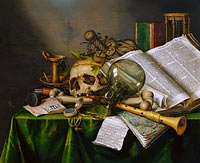 Evert Collier: Still Life with Books and Manuscripts and a Skull