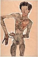 Egon Schiele: Nude Self-Portrait, Grimacing