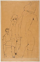 Эгон Шиле: Schiele with Nude Model before the Mirror, 1910