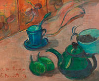 Émile Bernard: Still life with teapot, cup and fruit