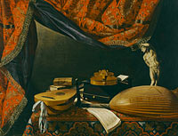 Evaristo Baschenis: Still life with Musical Instruments, Books and Sculpture
