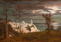 "Фредерик Сёдринг: The ""Summer Spire"" on the Chalk Cliffs of the Island Møn. Moonlight"