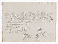 Drawing. Sketches. The village Guarumo, probably in Colombia