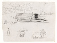 Sketches from Colombia: River Craft (Champan), a Woman, Group of Trees, a House