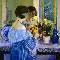 Фредерик Карл Фрисеке: Girl in Blue Arranging Flowers