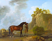 George Stubbs: The Marquess of Rockingham's Arabian Stallion (led by a Groom at Creswell Crags)