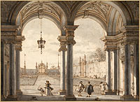 Canaletto: View through a Baroque Colonnade into a Garden, 1760-1768