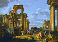 Giovanni Paolo Panini: An Architectural Capriccio of the Roman Forum with Philosophers and Soldiers among Ancient Ruins, in...