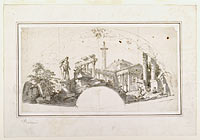 Design for a Fan: Capriccio with Roman Ruins and the Farnese Hercules