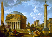 Джованни Паоло Панини: Fantasy View with the Pantheon and other Monuments of Ancient Rome